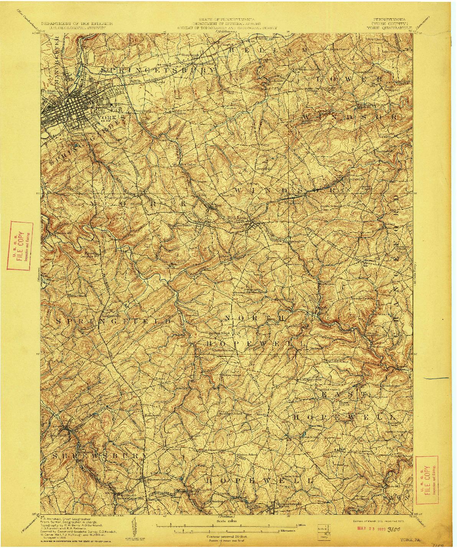USGS 1:62500-SCALE QUADRANGLE FOR YORK, PA 1910