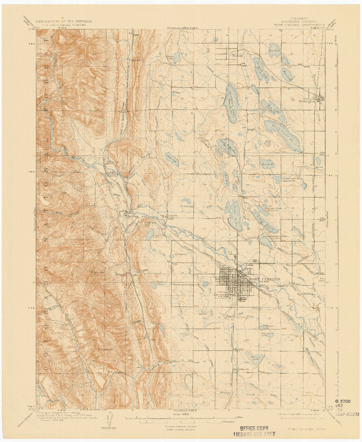 USGS 1:62500-SCALE QUADRANGLE FOR FORT COLLINS, CO 1908