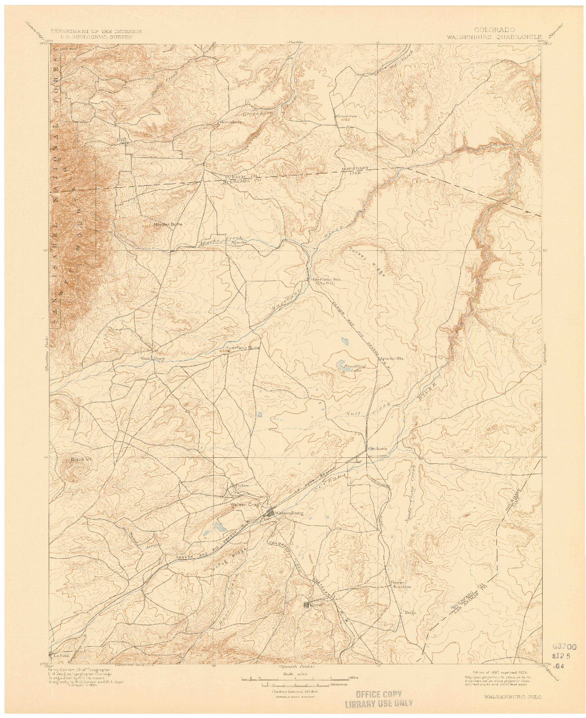 USGS 1:125000-SCALE QUADRANGLE FOR WALSENBURG, CO 1897