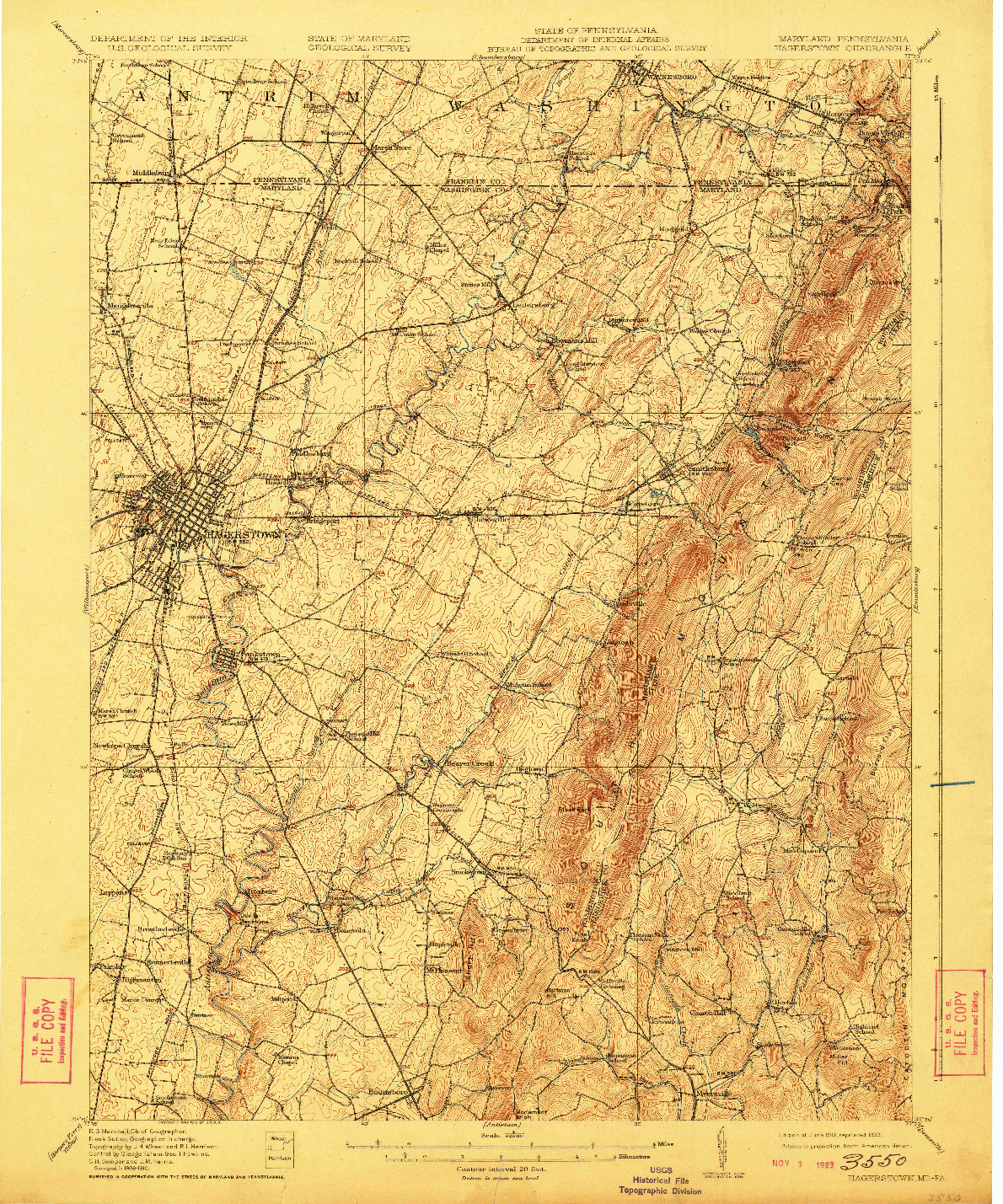 USGS 1:62500-SCALE QUADRANGLE FOR HAGERSTOWN, MD 1912