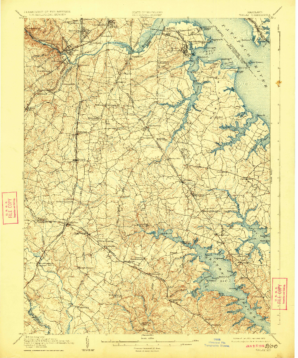 USGS 1:62500-SCALE QUADRANGLE FOR RELAY, MD 1907