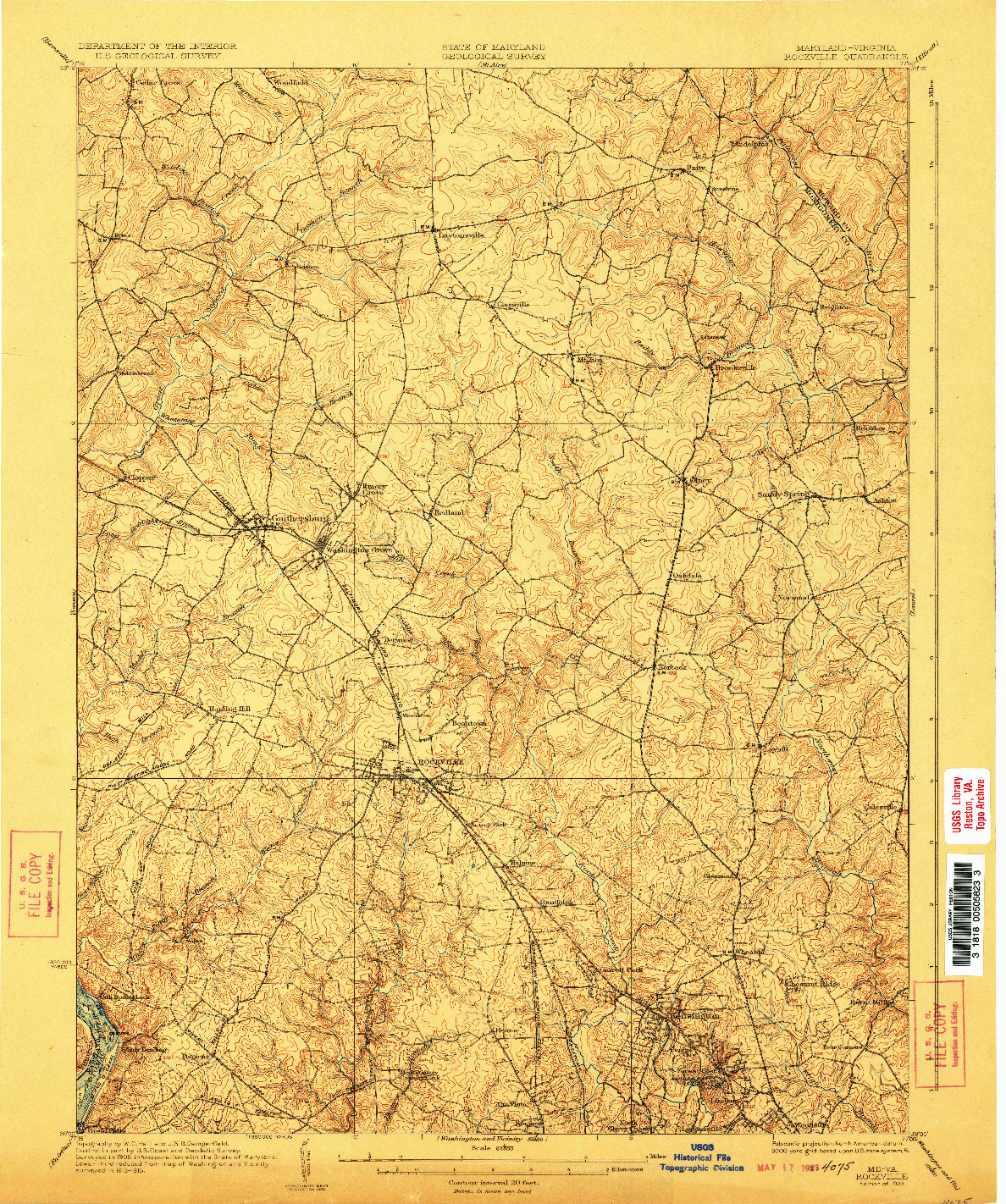 USGS 1:62500-SCALE QUADRANGLE FOR ROCKVILLE, MD 1923
