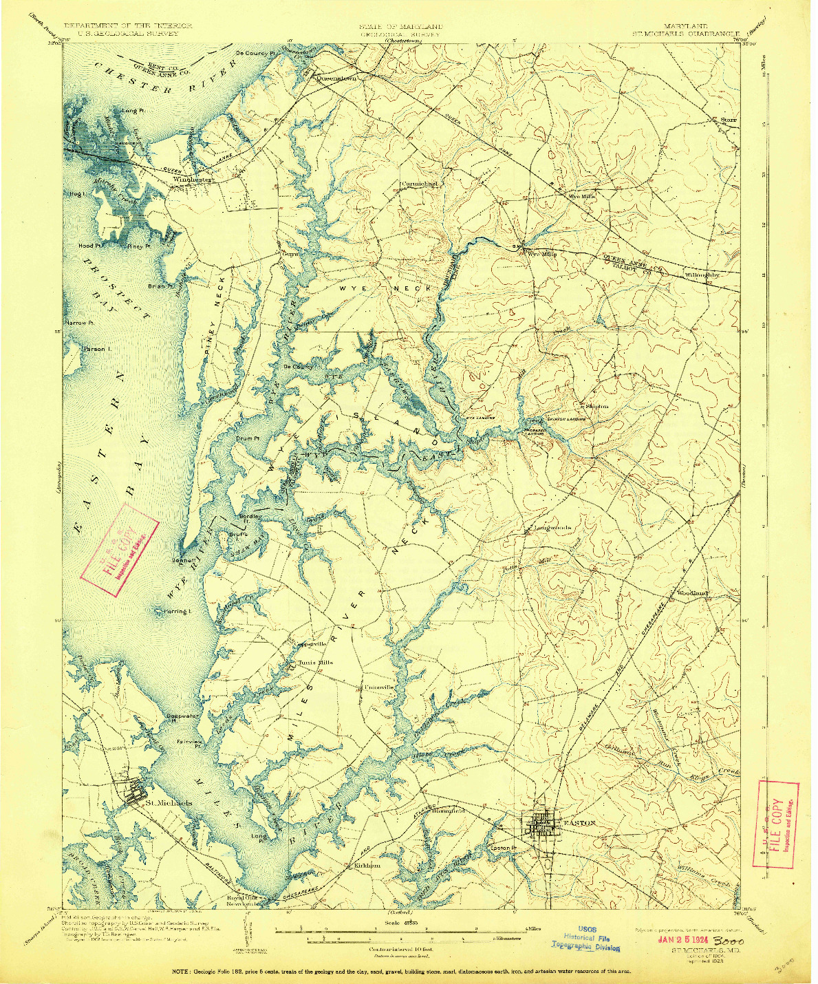 USGS 1:62500-SCALE QUADRANGLE FOR ST. MICHAELS, MD 1904