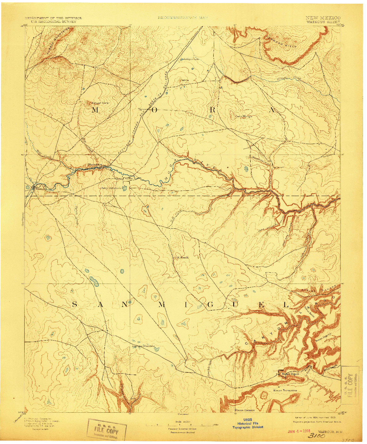 USGS 1:125000-SCALE QUADRANGLE FOR WATROUS, NM 1894