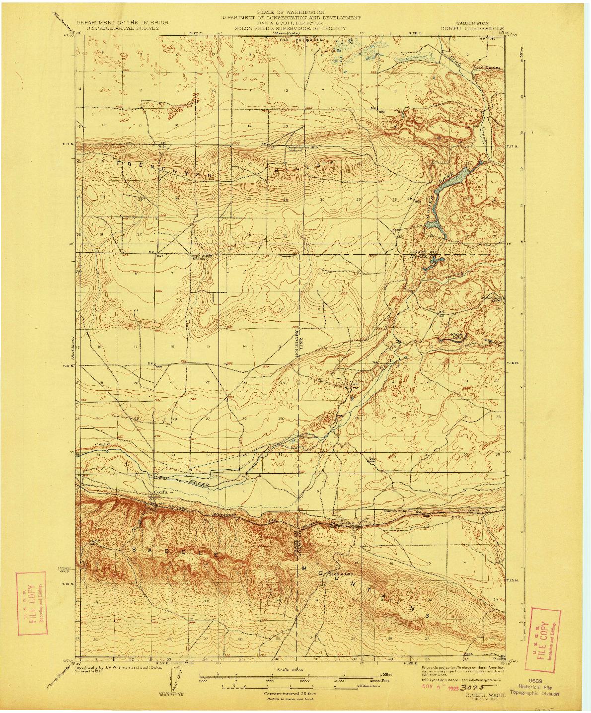 USGS 1:62500-SCALE QUADRANGLE FOR CORFU, WA 1923