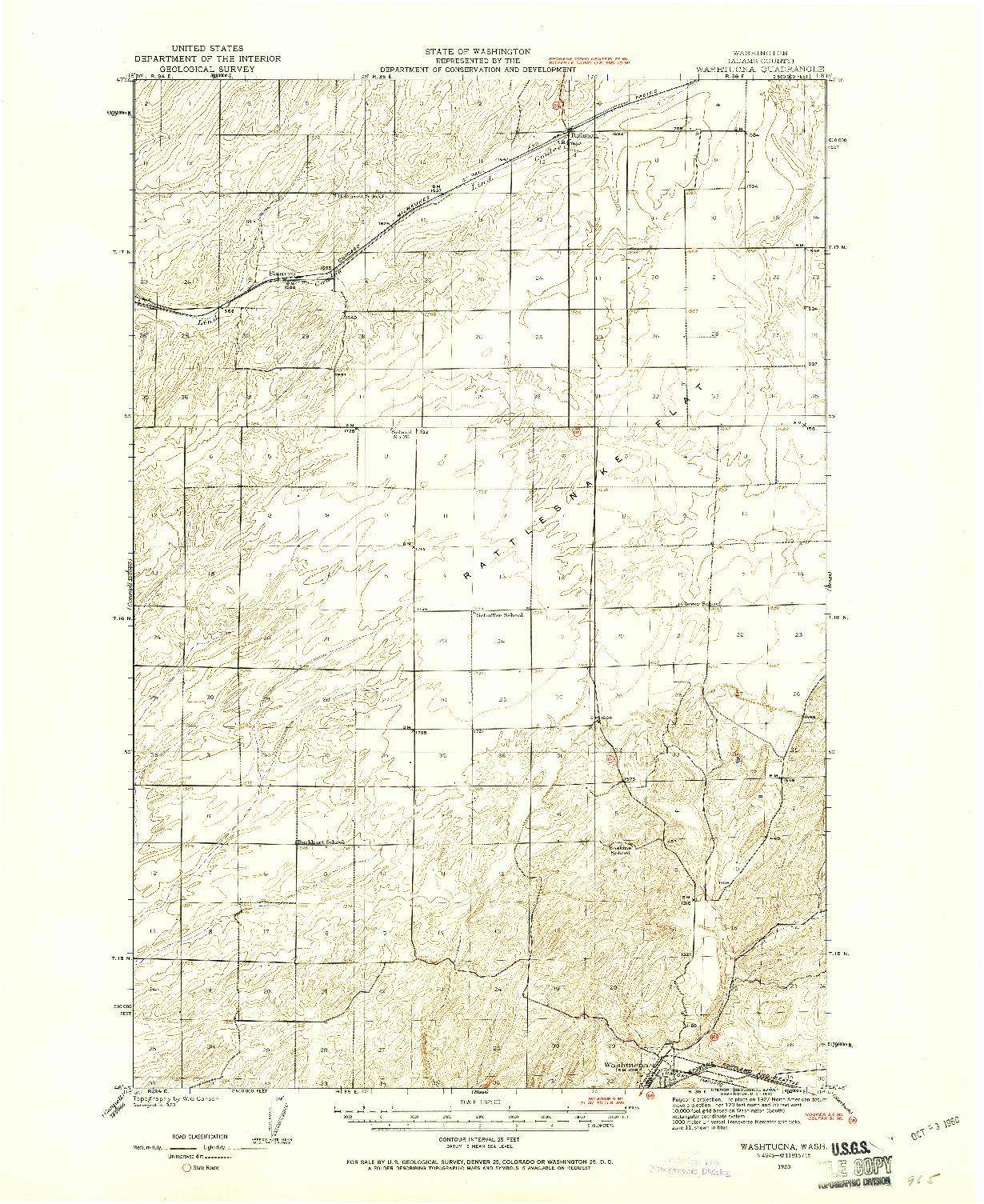 USGS 1:62500-SCALE QUADRANGLE FOR WASHTUCNA, WA 1923