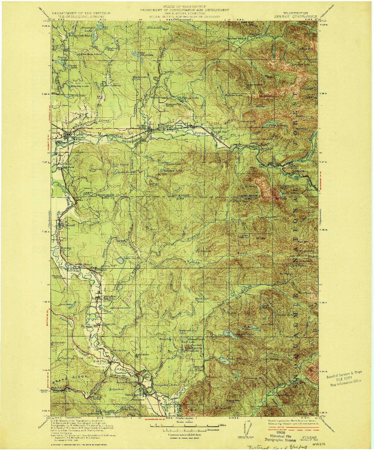 USGS 1:125000-SCALE QUADRANGLE FOR SULTAN, WA 1923