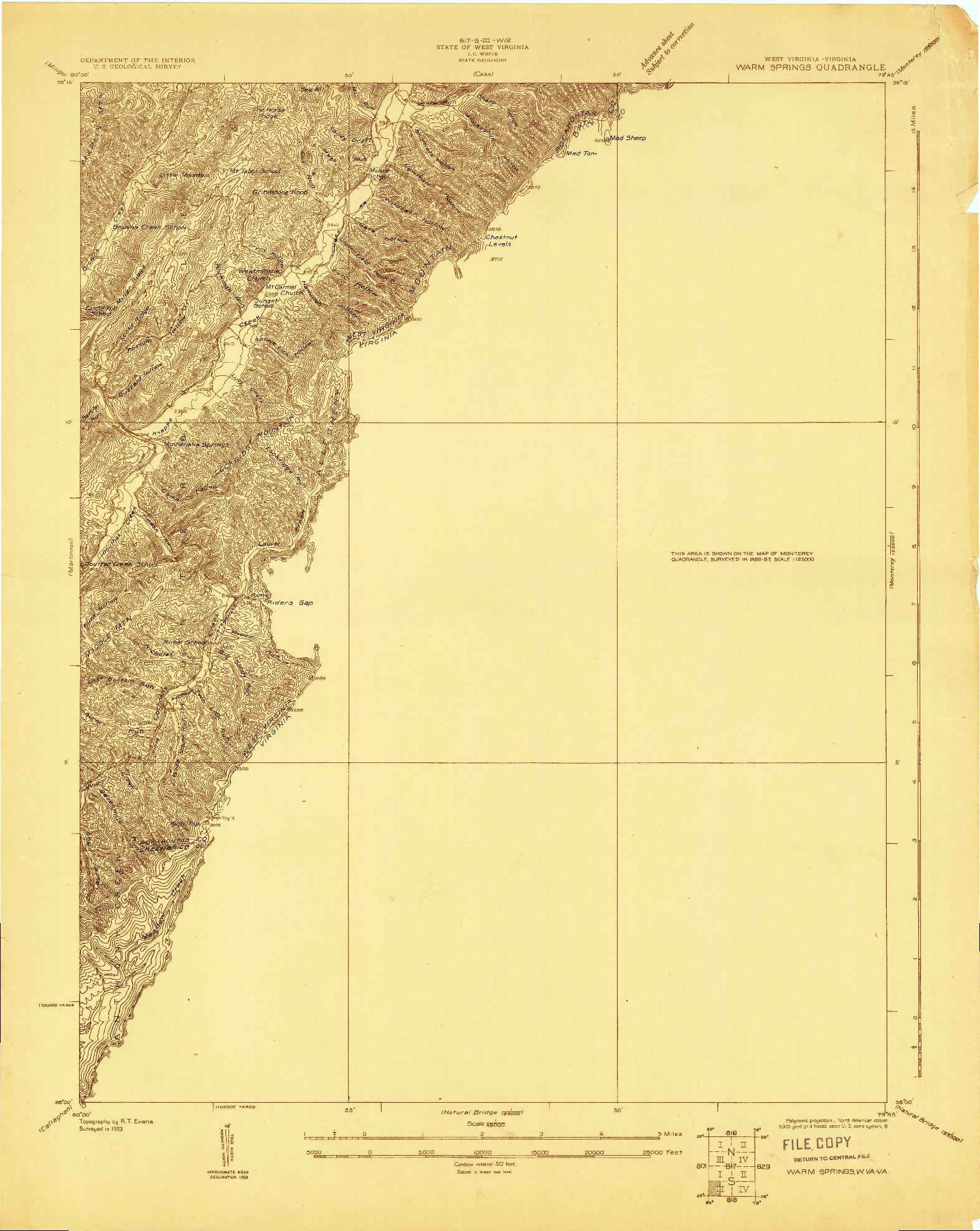 USGS 1:48000-SCALE QUADRANGLE FOR WARM SPRINGS, WV 1923