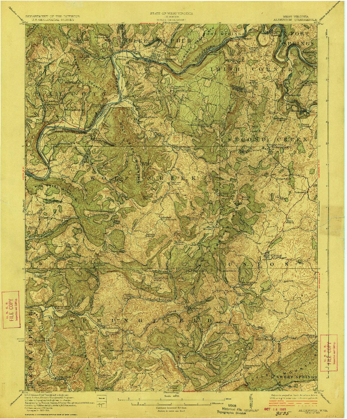 USGS 1:62500-SCALE QUADRANGLE FOR ALDERSON, WV 1923