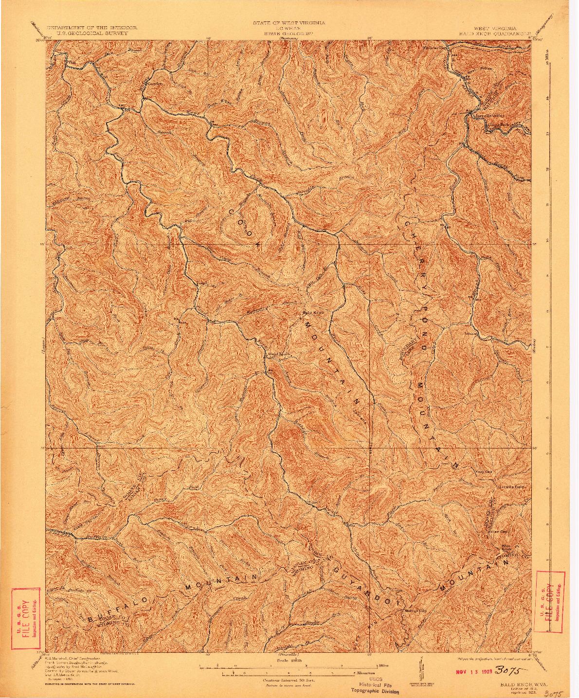 USGS 1:62500-SCALE QUADRANGLE FOR BALD KNOB, WV 1912