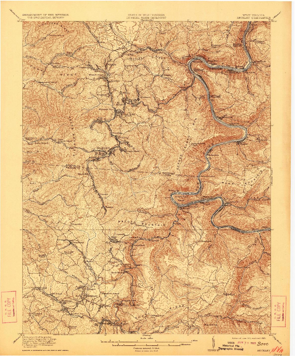 USGS 1:62500-SCALE QUADRANGLE FOR BECKLEY, WV 1913