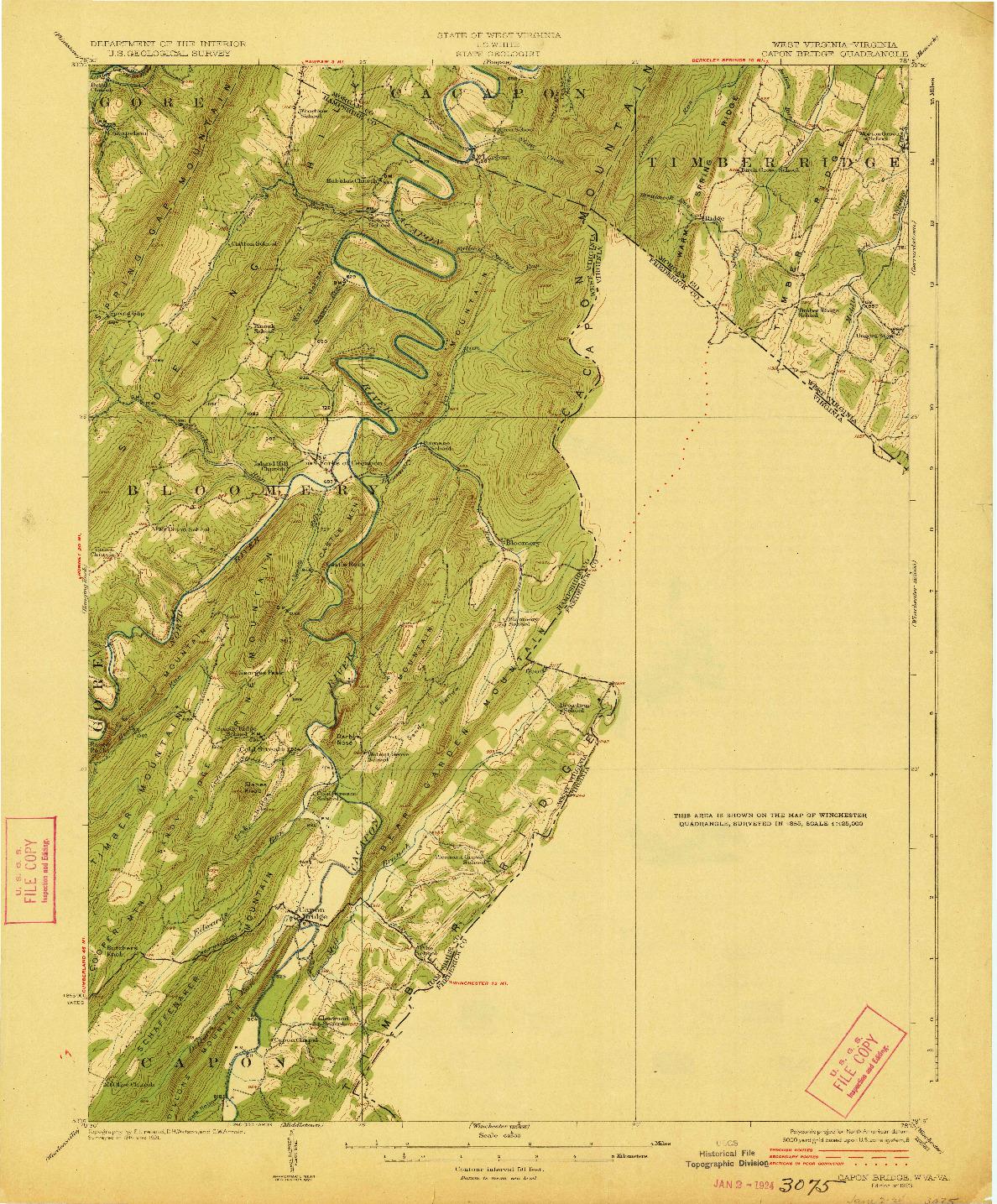 USGS 1:62500-SCALE QUADRANGLE FOR CAPON BRIDGE, WV 1923