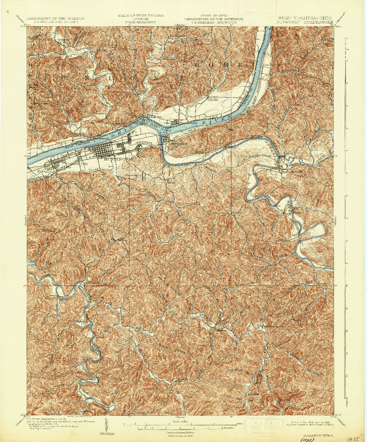 USGS 1:62500-SCALE QUADRANGLE FOR GUYANDOT, WV 1902