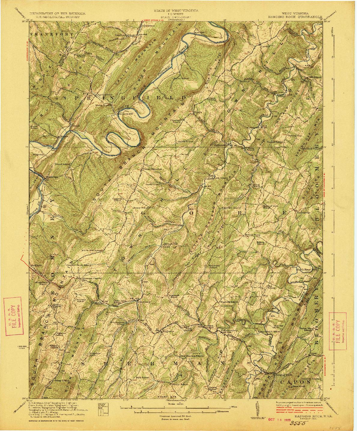 USGS 1:62500-SCALE QUADRANGLE FOR HANGING ROCK, WV 1923