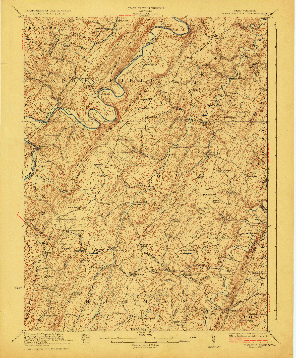 USGS 1:62500-SCALE QUADRANGLE FOR HANGING ROCK, WV 1923