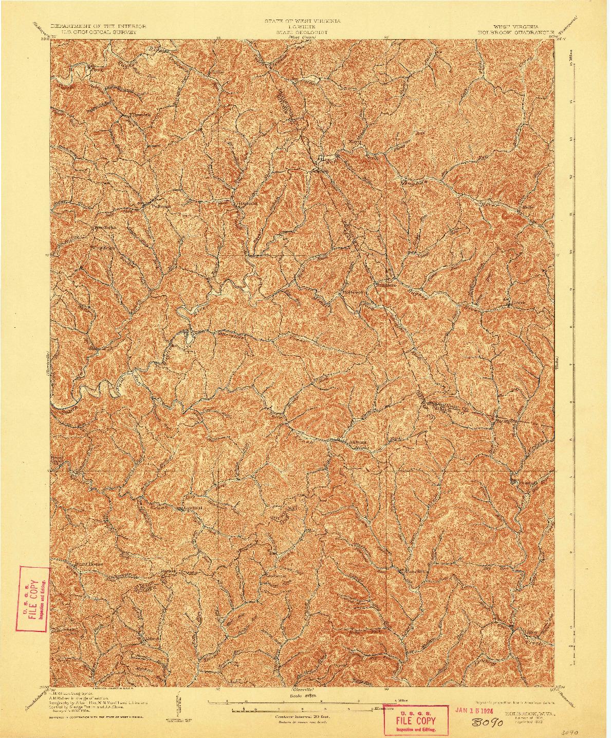 USGS 1:62500-SCALE QUADRANGLE FOR HOLBROOK, WV 1906