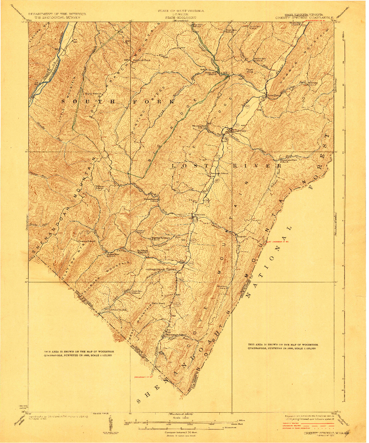 USGS 1:62500-SCALE QUADRANGLE FOR ORKNEY SPRINGS, WV 1923
