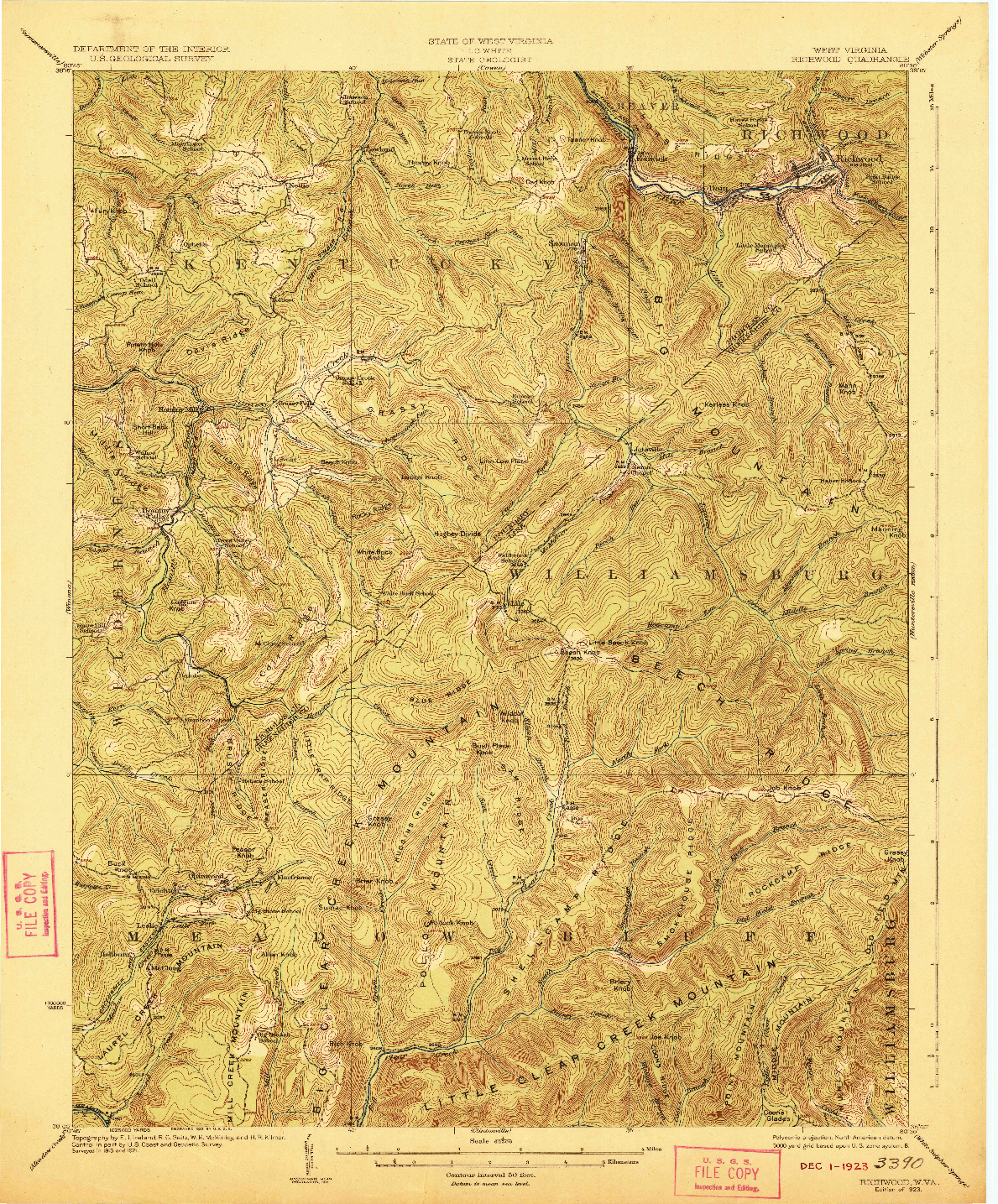 USGS 1:62500-SCALE QUADRANGLE FOR RICHWOOD, WV 1923