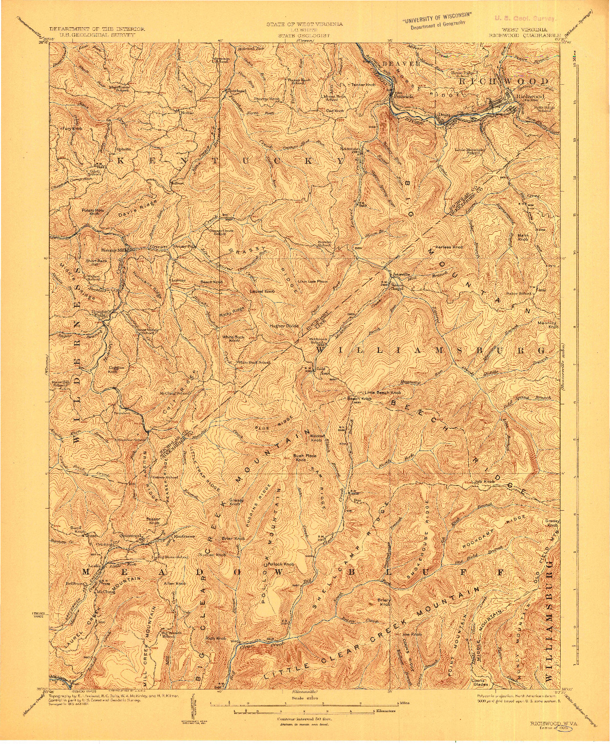USGS 1:62500-SCALE QUADRANGLE FOR RICHWOOD, WV 1923