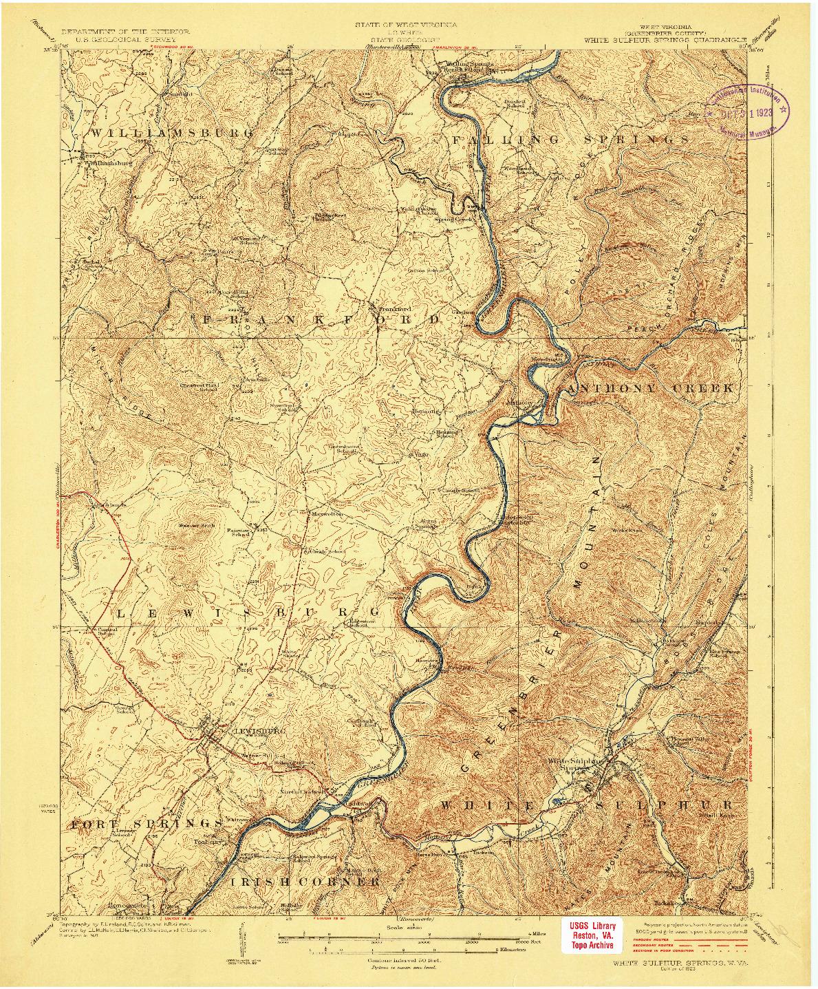 USGS 1:62500-SCALE QUADRANGLE FOR WHITE SULPHUR SPRINGS, WV 1923