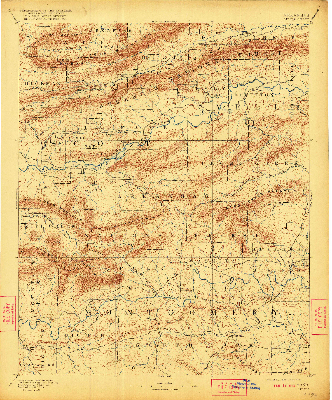 USGS 1:125000-SCALE QUADRANGLE FOR MOUNT IDA, AR 1890