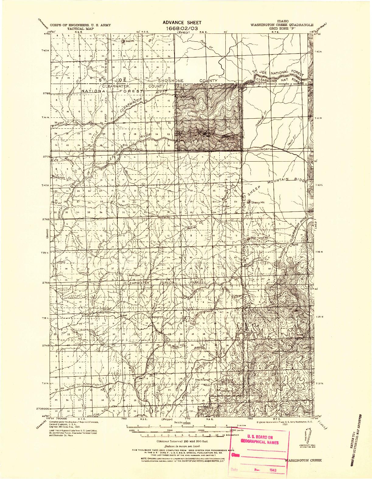 USGS 1:125000-SCALE QUADRANGLE FOR WASHINGTON CREEK, ID 1923