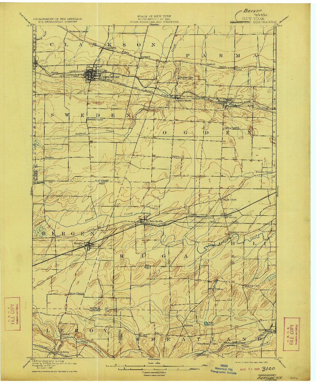 USGS 1:62500-SCALE QUADRANGLE FOR BERGEN, NY 1899