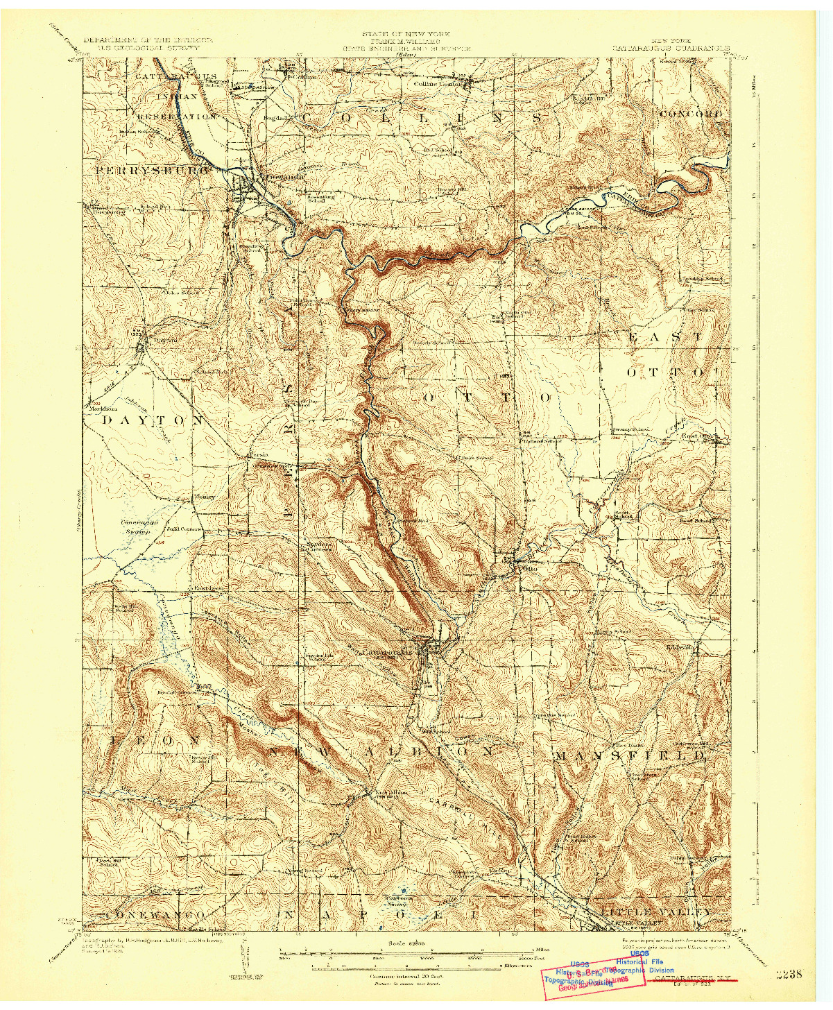 USGS 1:62500-SCALE QUADRANGLE FOR CATTARAUGUS, NY 1923