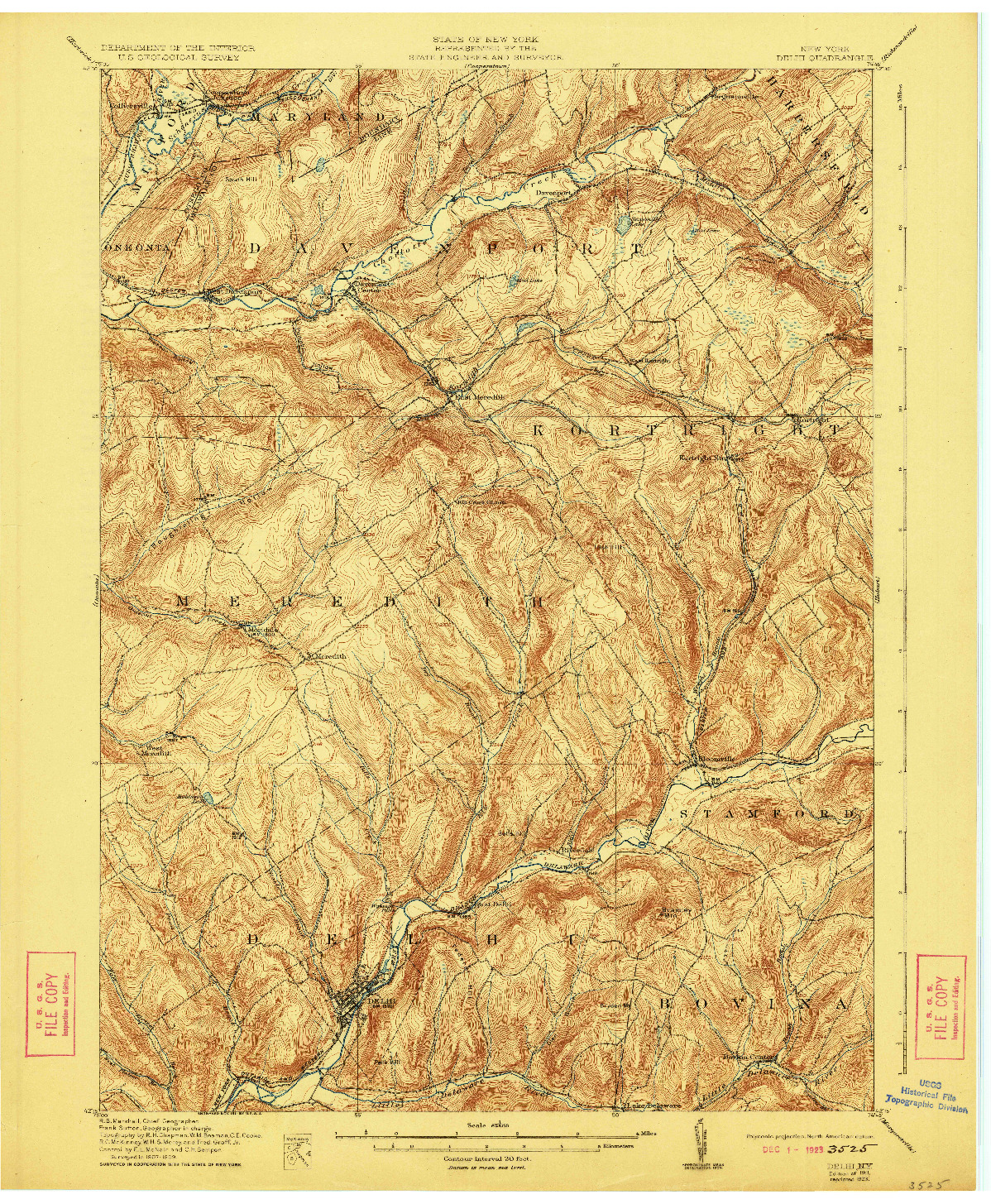 USGS 1:62500-SCALE QUADRANGLE FOR DELHI, NY 1911