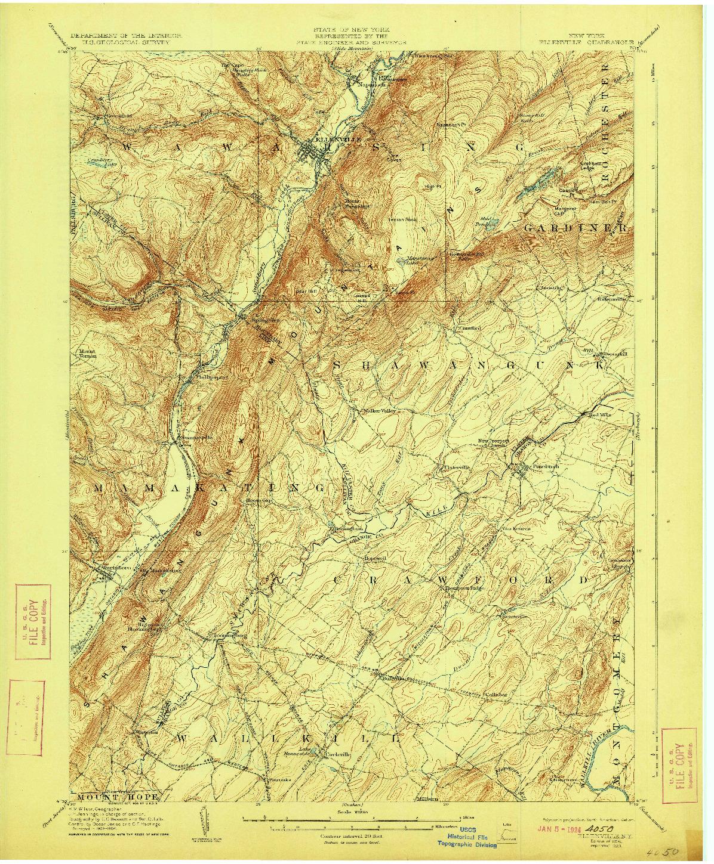 USGS 1:62500-SCALE QUADRANGLE FOR ELLENVILLE, NY 1906