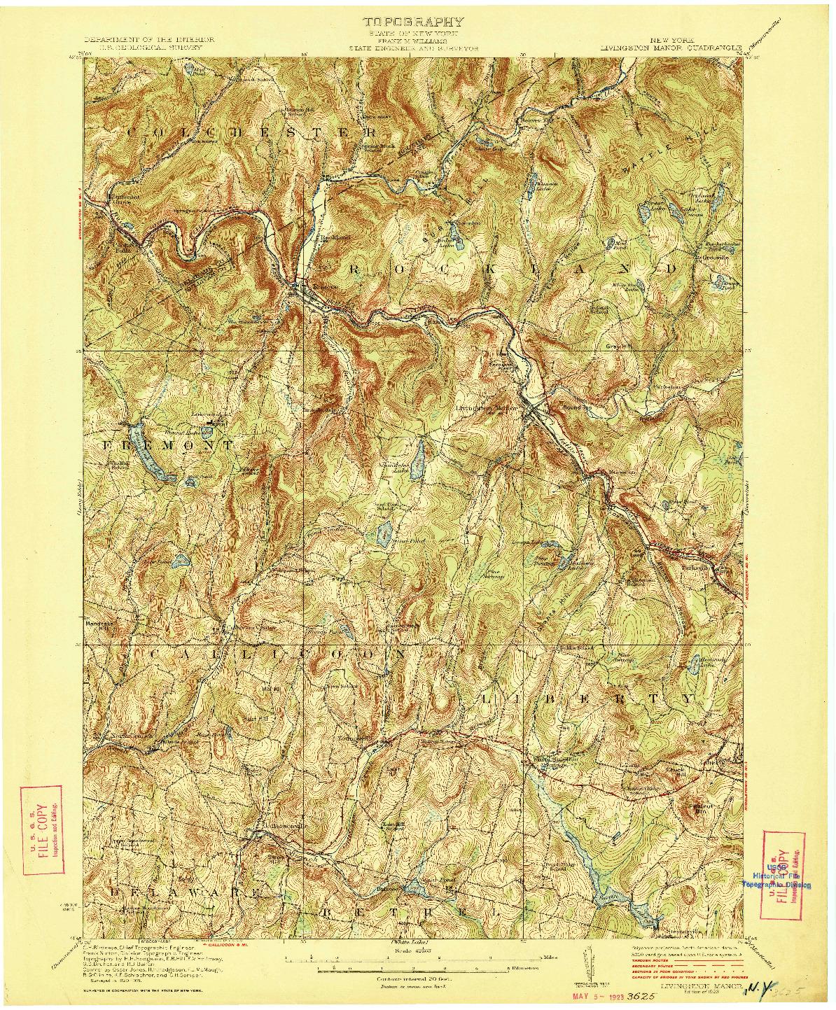 USGS 1:62500-SCALE QUADRANGLE FOR LIVINGSTON MANOR, NY 1923