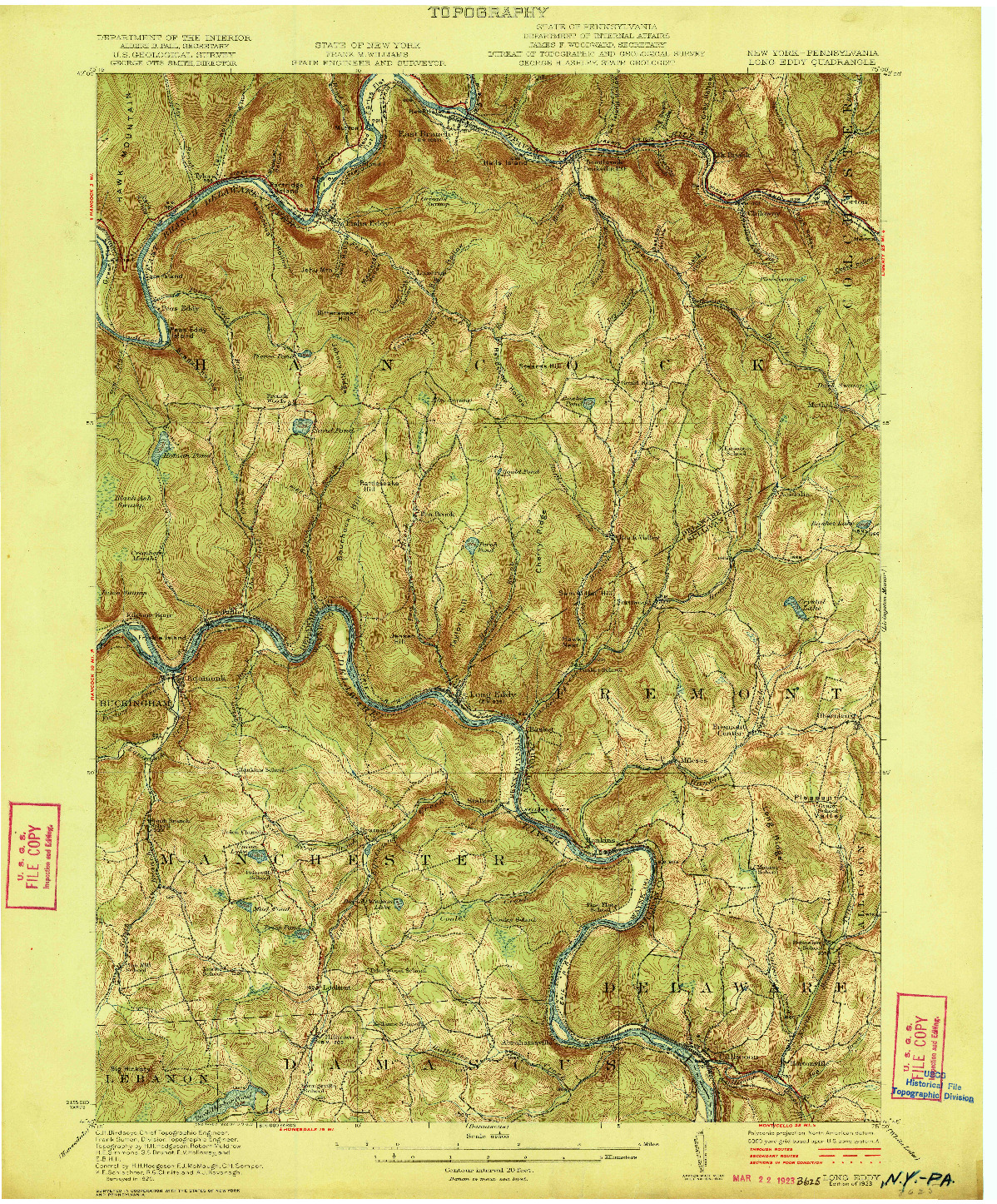 USGS 1:62500-SCALE QUADRANGLE FOR LONG EDDY, NY 1923