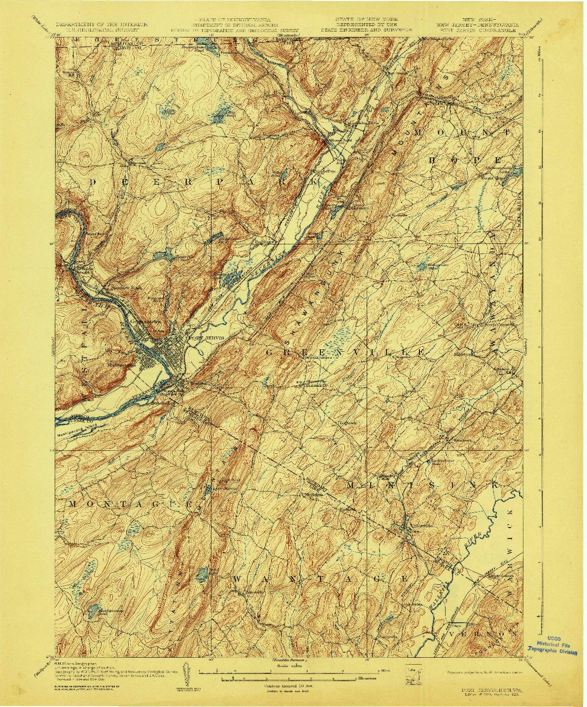 USGS 1:62500-SCALE QUADRANGLE FOR PORT JERVIS, NY 1908