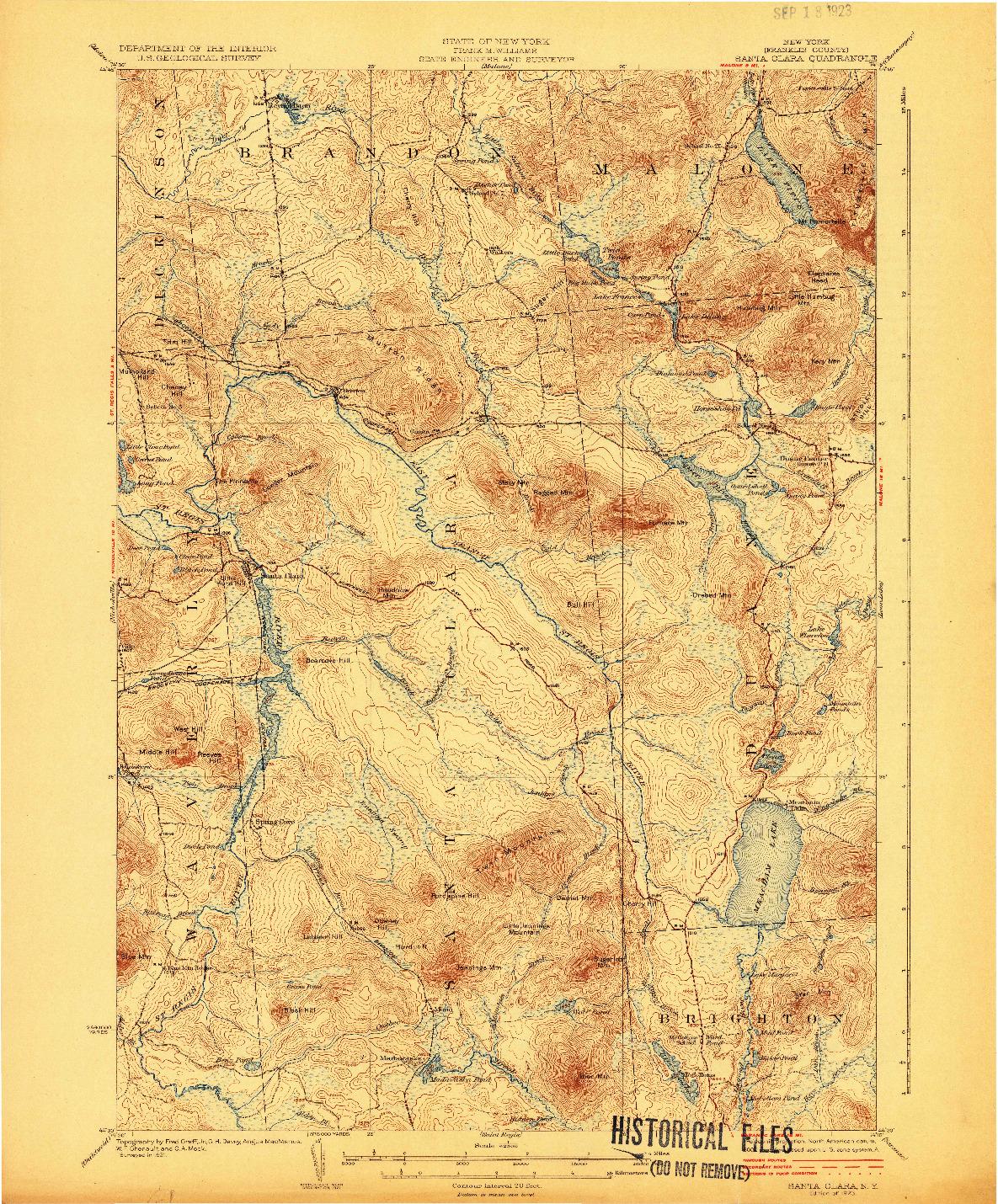 USGS 1:62500-SCALE QUADRANGLE FOR SANTA CLARA, NY 1923