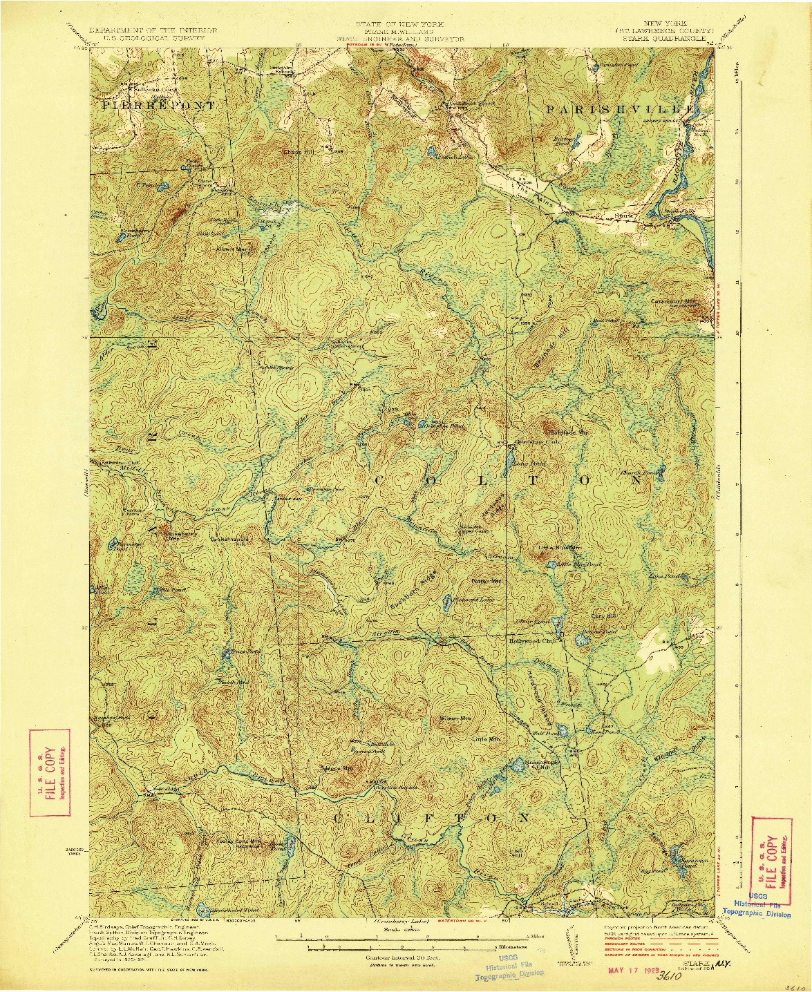 USGS 1:62500-SCALE QUADRANGLE FOR STARK, NY 1923