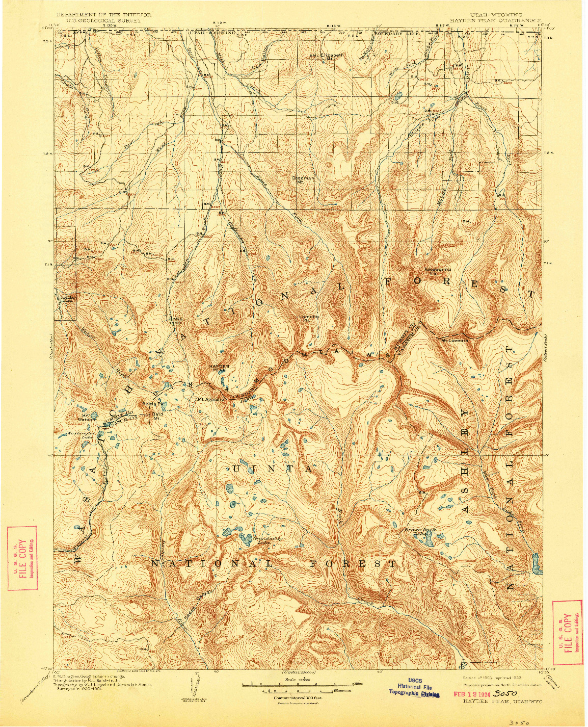 USGS 1:125000-SCALE QUADRANGLE FOR HAYDEN PEAK, UT 1903