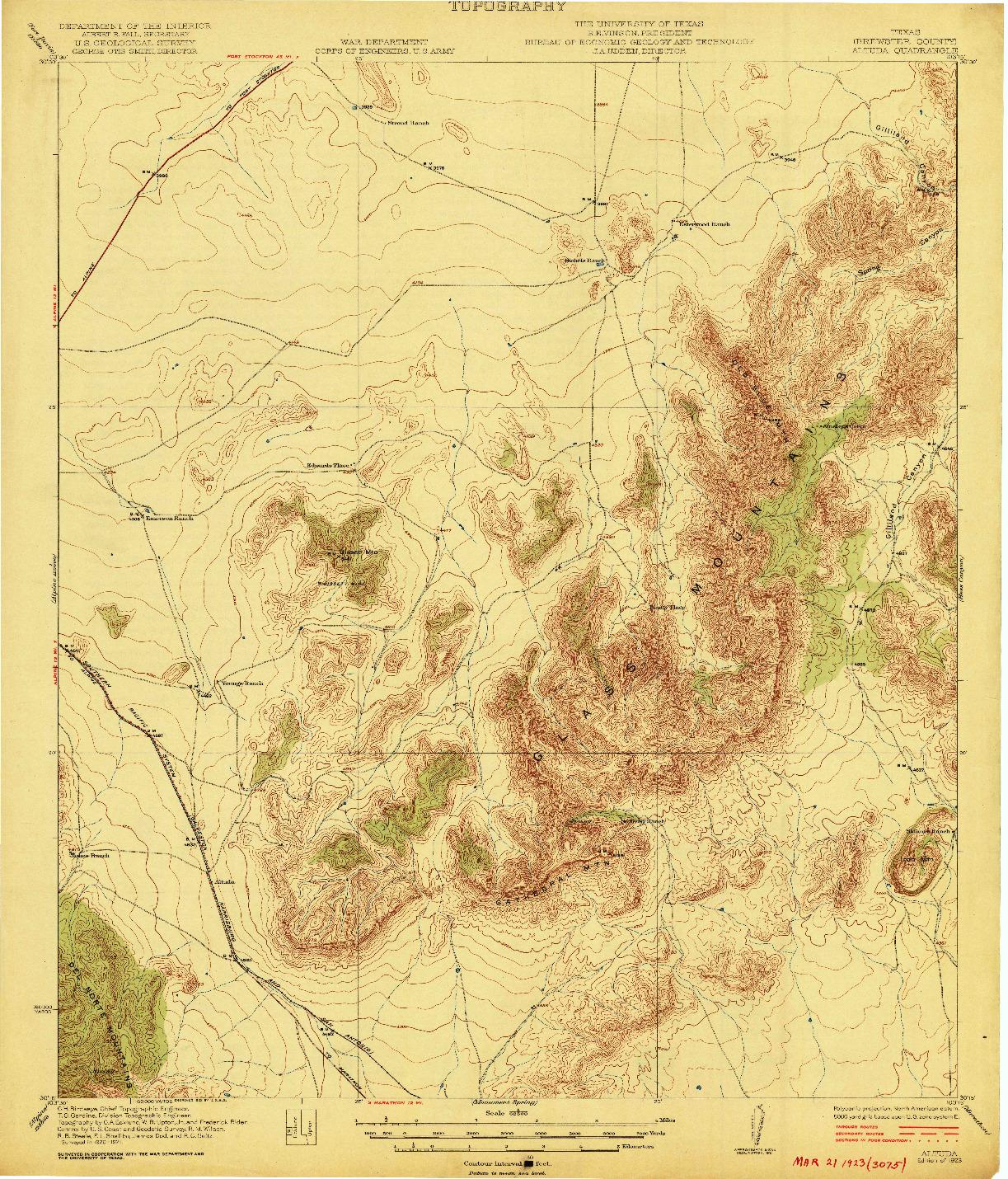 USGS 1:62500-SCALE QUADRANGLE FOR ALTUDA, TX 1923