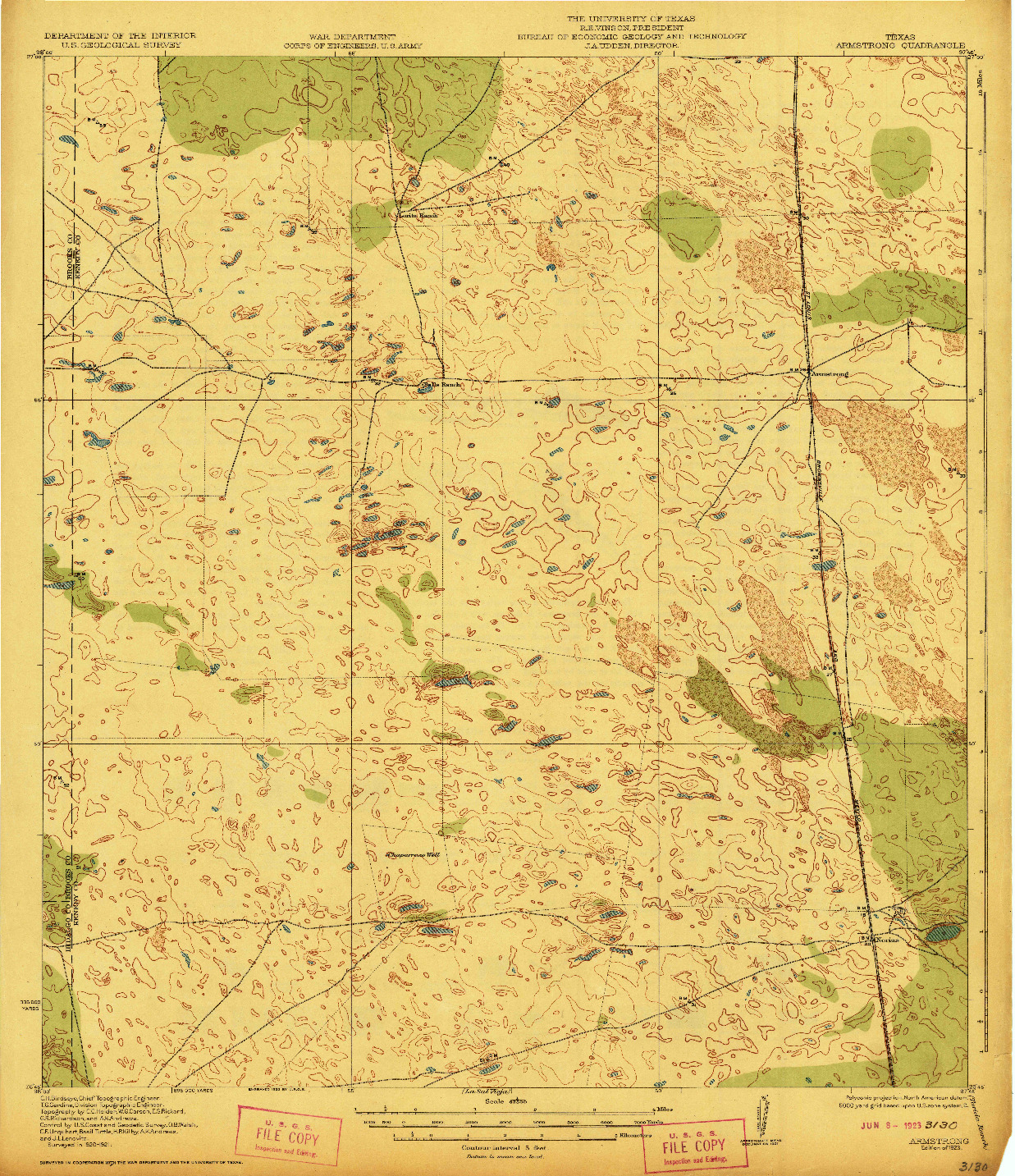 USGS 1:62500-SCALE QUADRANGLE FOR ARMSTRONG, TX 1923
