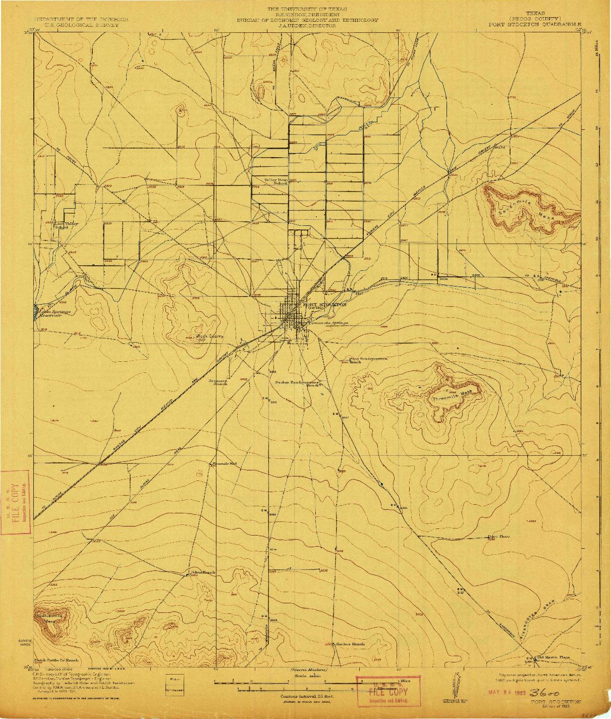 USGS 1:62500-SCALE QUADRANGLE FOR FORT STOCKTON, TX 1923