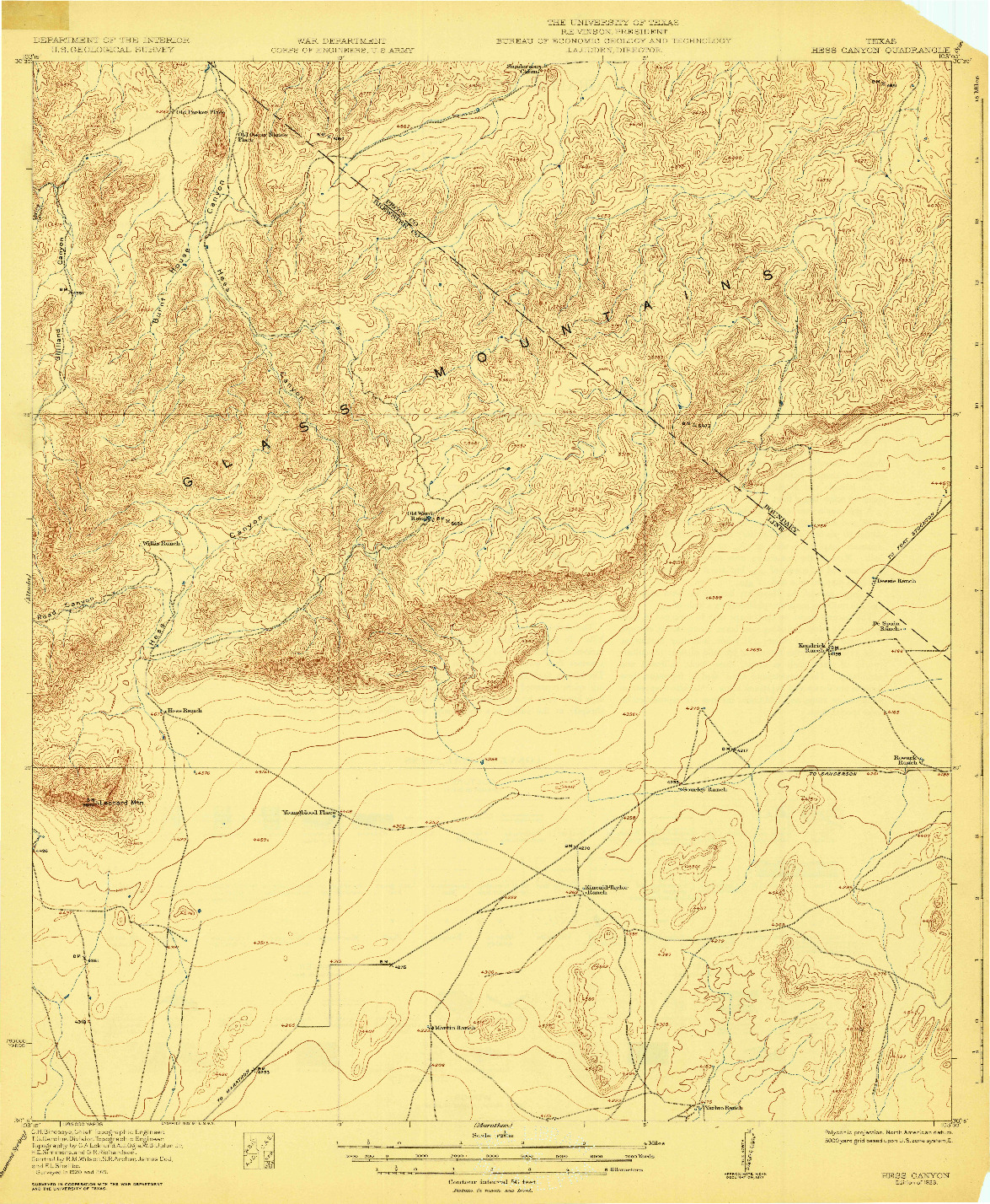 USGS 1:62500-SCALE QUADRANGLE FOR HESS CANYON, TX 1923