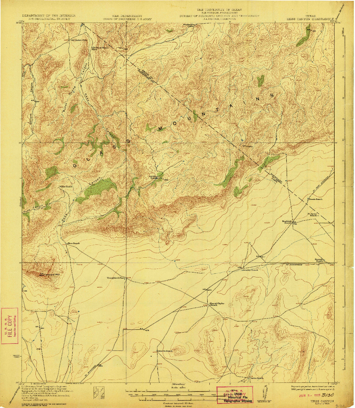 USGS 1:62500-SCALE QUADRANGLE FOR HESS CANYON, TX 1923
