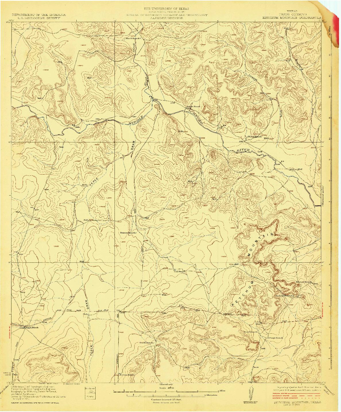 USGS 1:62500-SCALE QUADRANGLE FOR KETCHUM MOUNTAIN, TX 1923