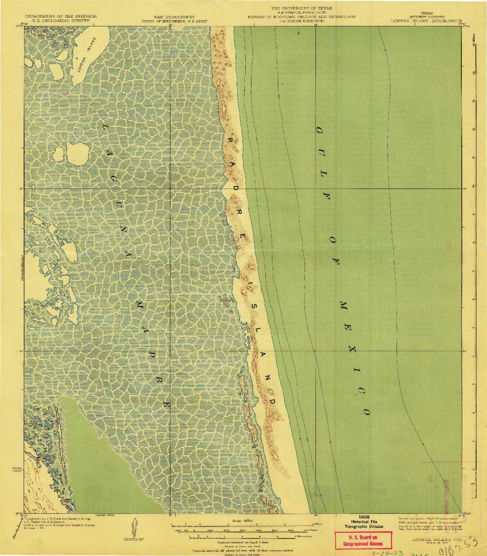 USGS 1:62500-SCALE QUADRANGLE FOR LOPENA ISLAND, TX 1923