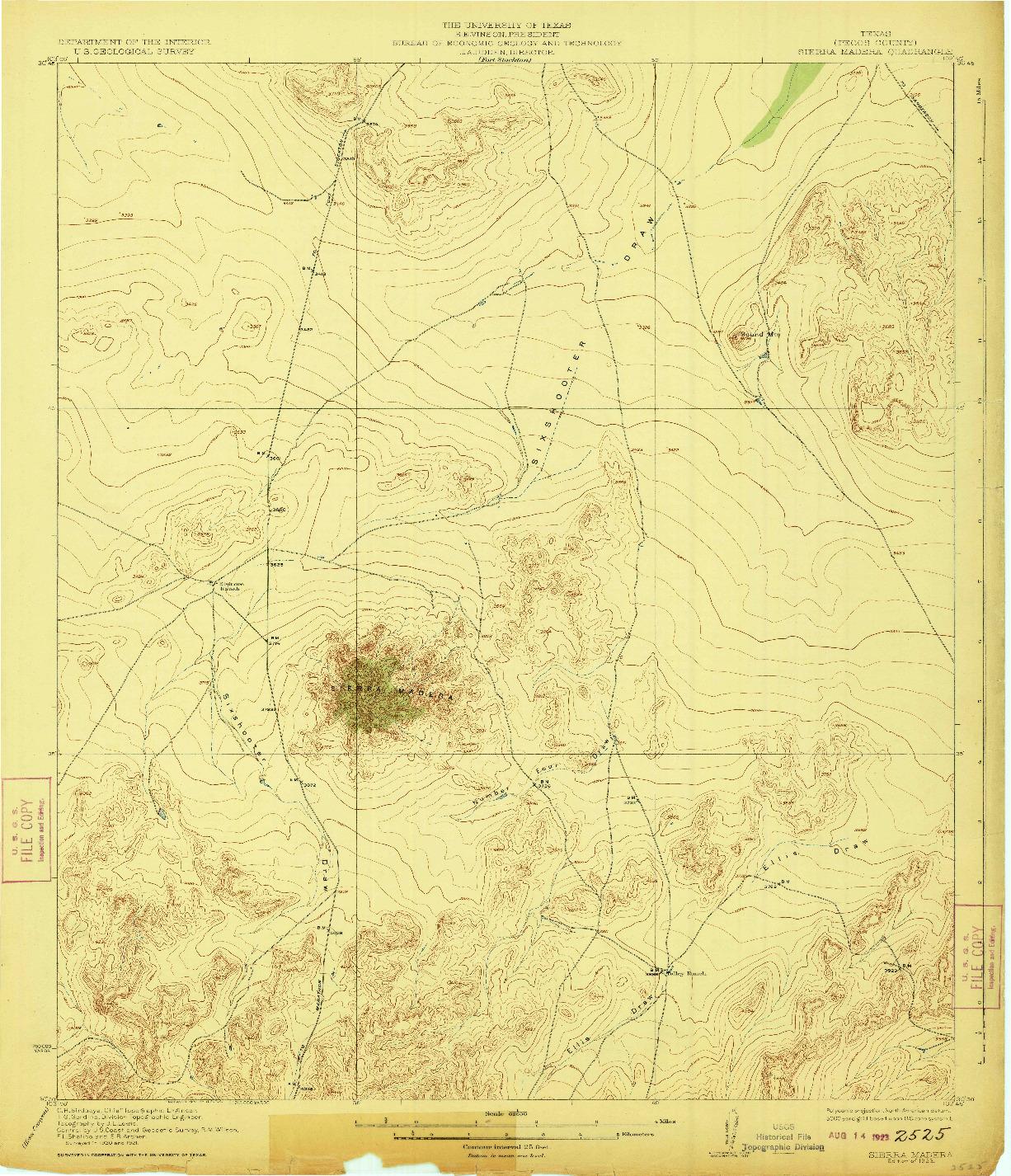 USGS 1:62500-SCALE QUADRANGLE FOR SIERRA MADERA, TX 1923