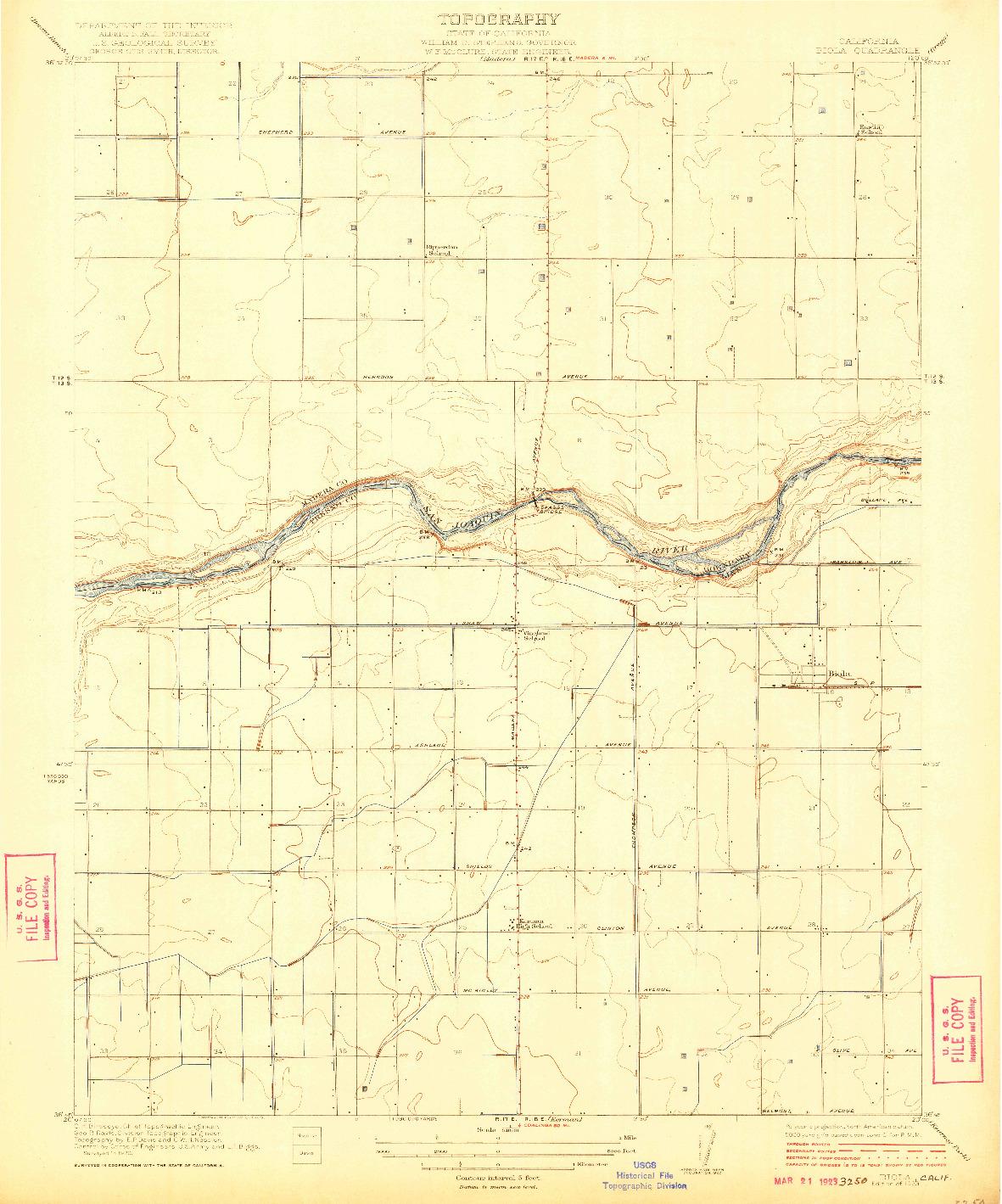USGS 1:31680-SCALE QUADRANGLE FOR BIOLA, CA 1923
