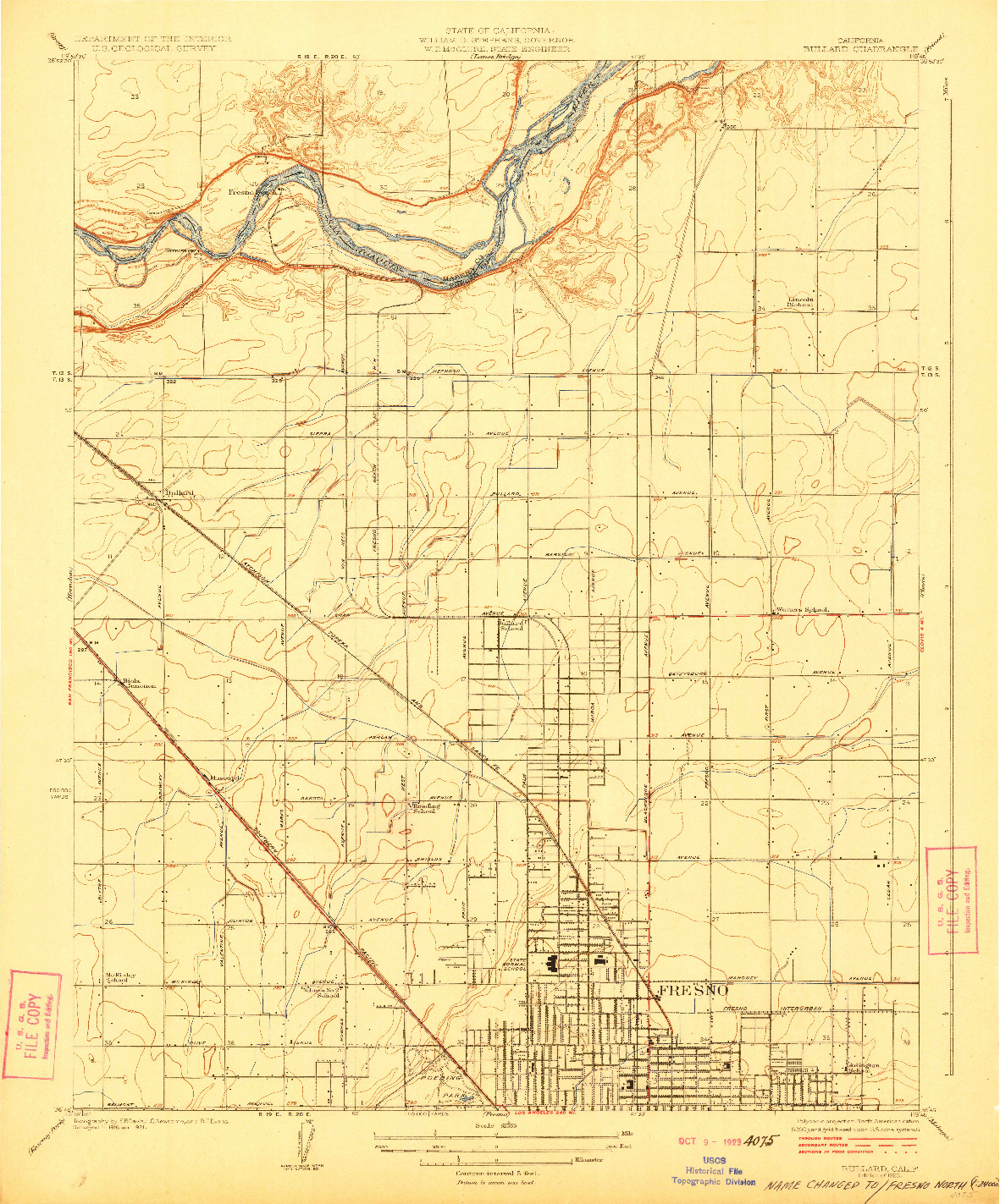 USGS 1:31680-SCALE QUADRANGLE FOR BULLARD, CA 1923