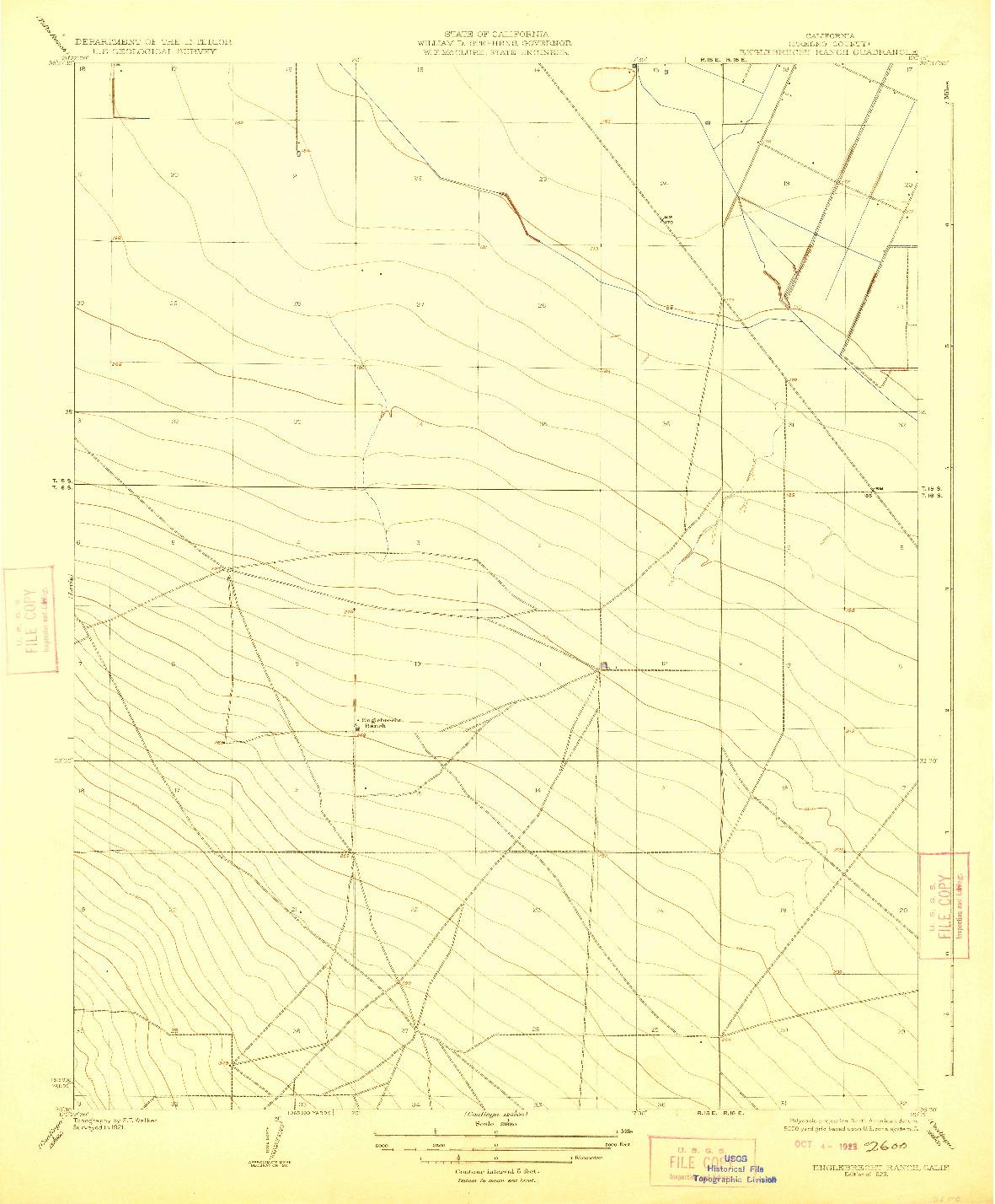 USGS 1:31680-SCALE QUADRANGLE FOR ENGLEBRECHT RANCH, CA 1923