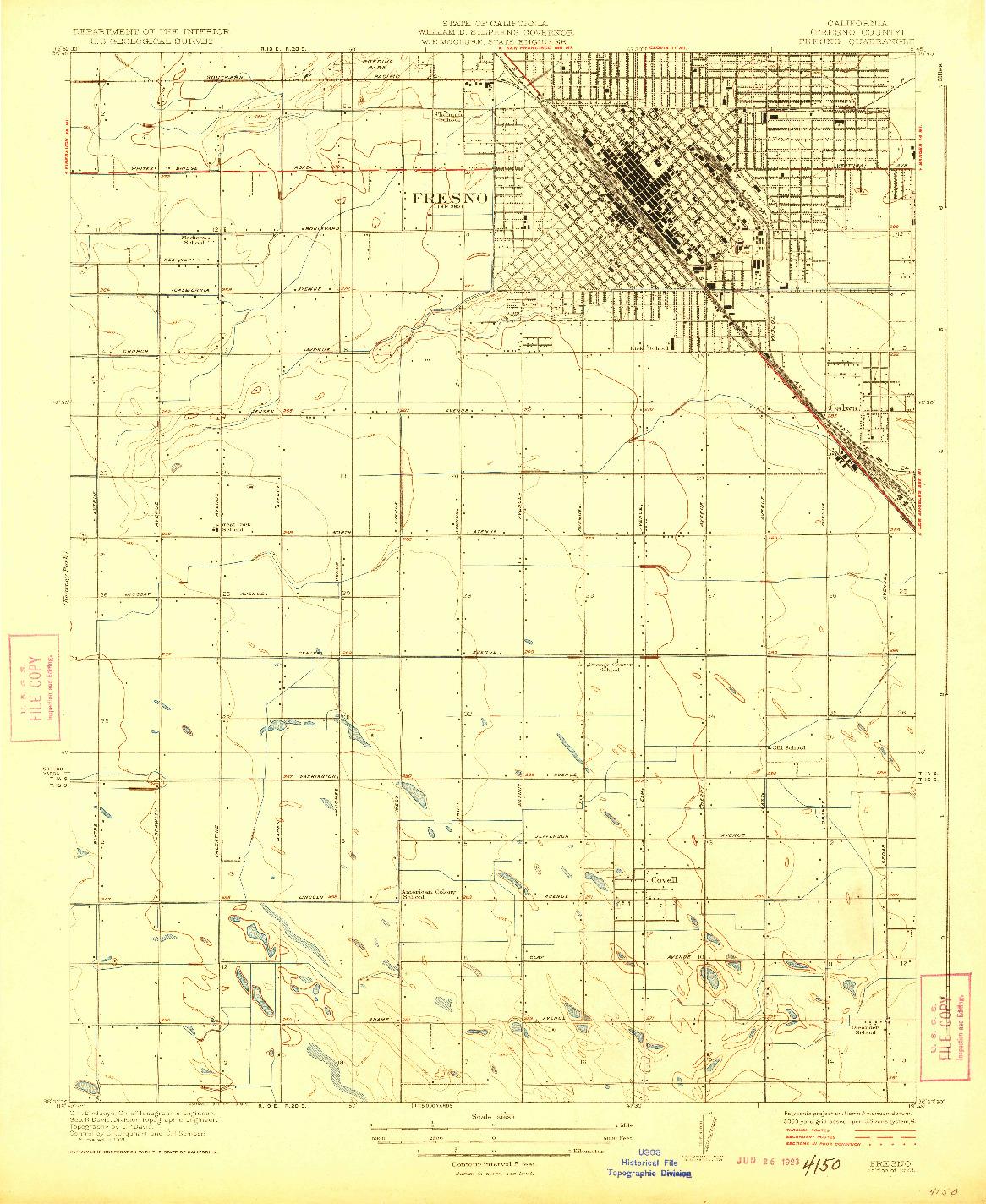 USGS 1:31680-SCALE QUADRANGLE FOR FRESNO, CA 1923