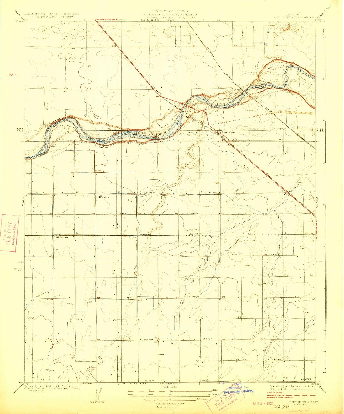 USGS 1:31680-SCALE QUADRANGLE FOR HERNDON, CA 1923