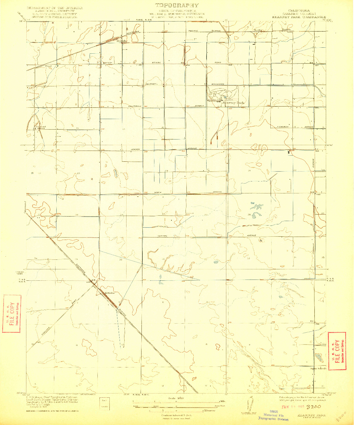 USGS 1:31680-SCALE QUADRANGLE FOR KEARNEY PARK, CA 1923
